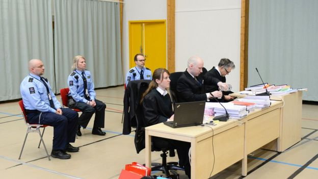 Breivik in court at Skien prison