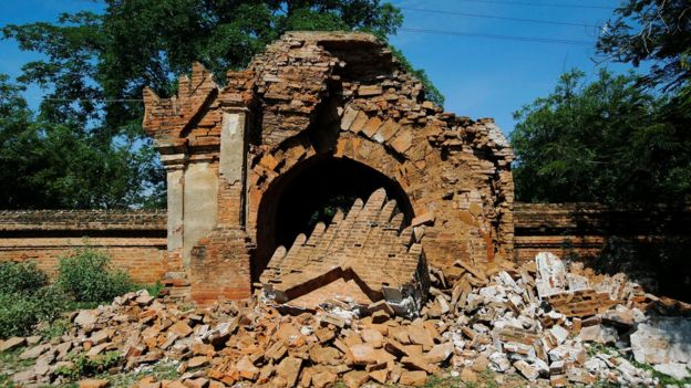 The entrance of a collapsed pagoda is seen after an earthquake in Bagan, Myanmar, 25 August 2016.