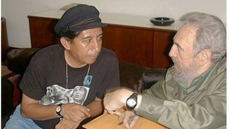 Óscar Olivera e Fidel Castro