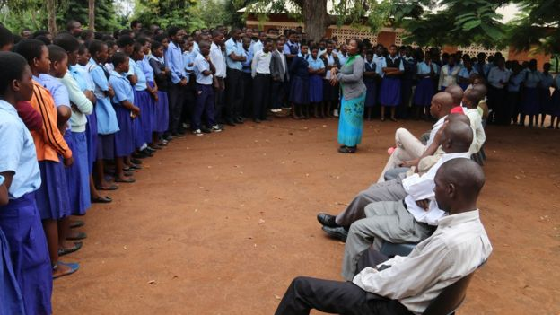 Students at Milonde secondary school in Malawi at morning assembly