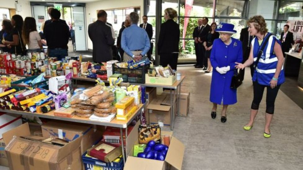 The Queen being shown food supplies