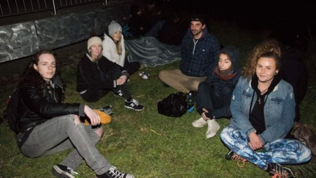 New Zealand residents camp near the top of Mt Victoria, the highest hill in Wellington