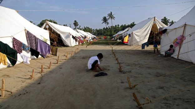 Tents on the DaNyaWaddy's football grounds, in Sittwe, Rakhine State, western Myanmar, 26 October