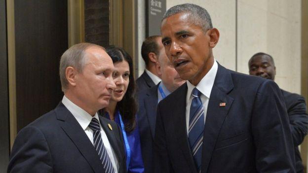Vladimir Putin speaks to Barack Obama on the sidelines of the G20 Summit in Hangzhou, China