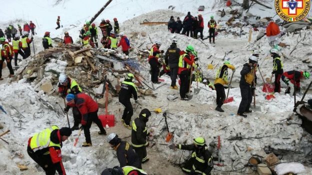 A handout photo made available by the Italian Mountain Rescue Service