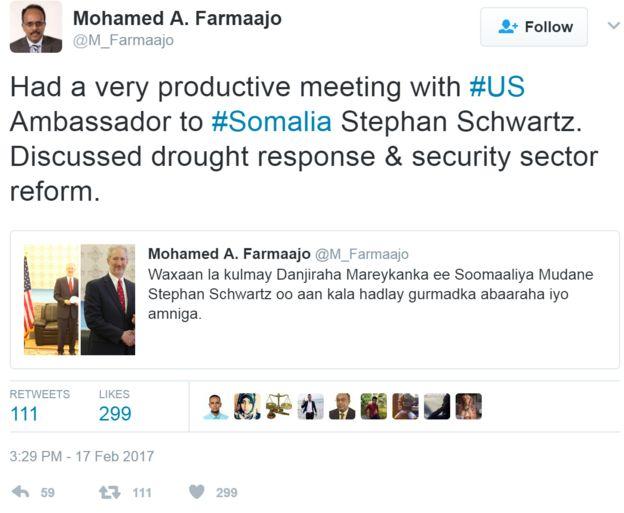 Screengrab of tweet by Somali president's personal account
