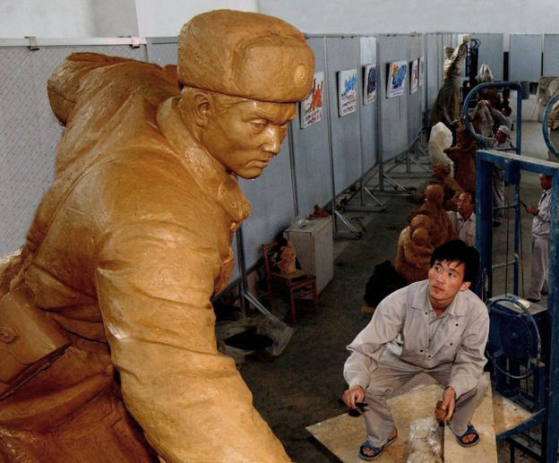 Mansudae artist working on sculpture, 2004