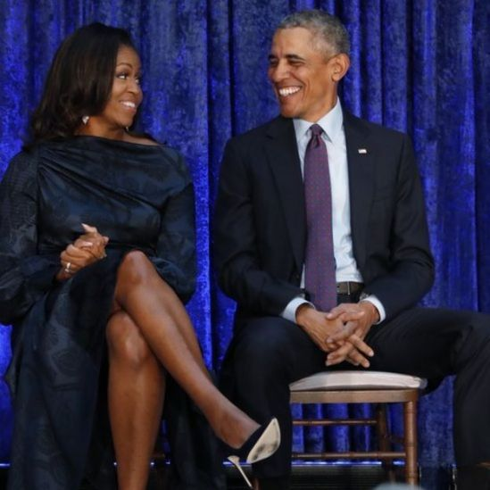 Former US President Barack Obama and former first lady Michelle Obama at the unveiling of their portraits at the Smithsonian's National Portrait Gallery in Washington