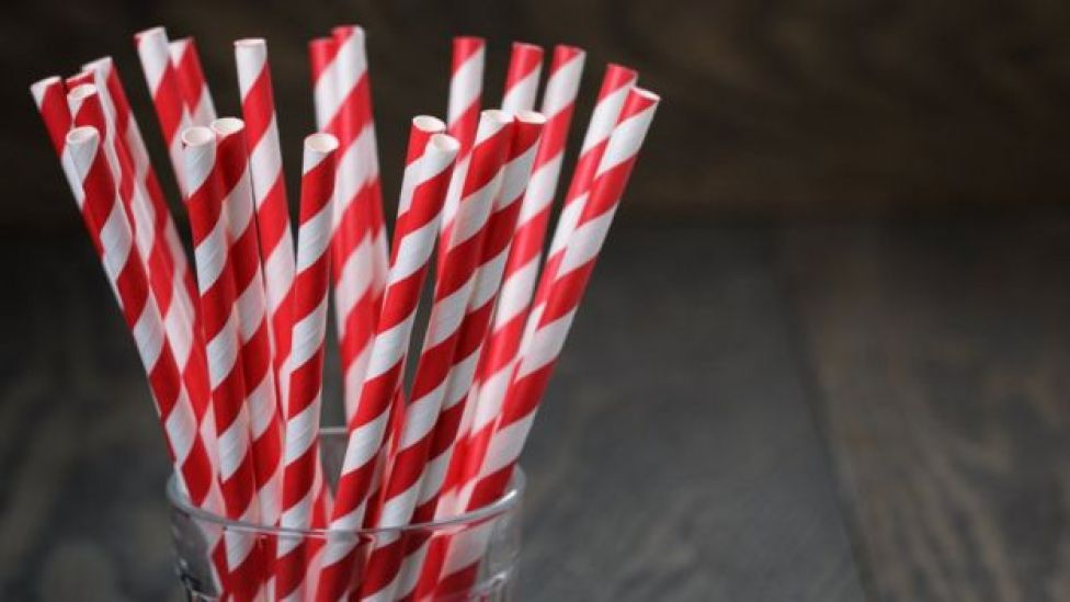Paper straws in a glass