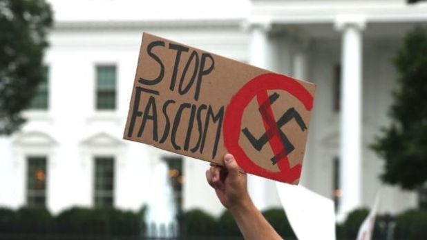 Stop Fascism protest sign outside the White House