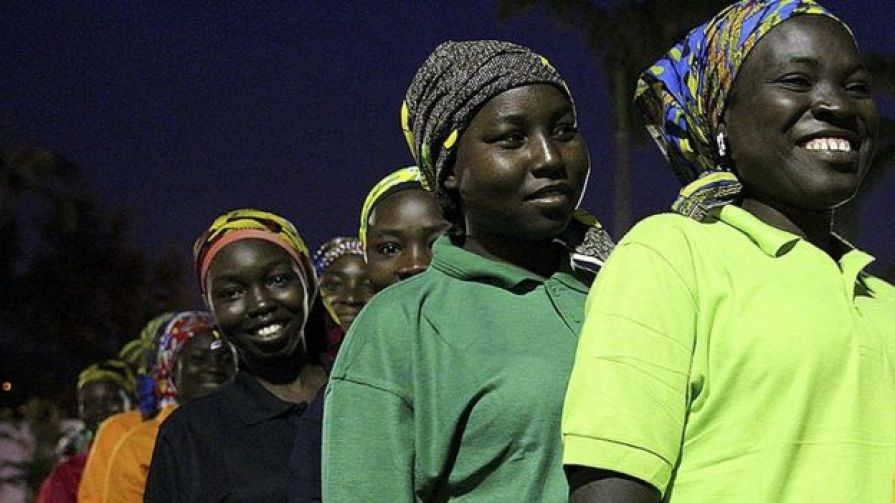 Some of the 82 released Chibok girls wait to meet Nigerian President Muhammadu Buhari (not pictured) at the Presidential Villa in Abuja, Nigeria 07 May 2017.