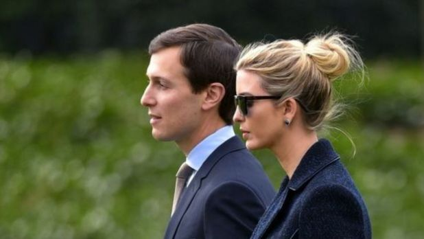 Jared Kushner (left), walking with his wife Ivanka Trump (03 March 2017)