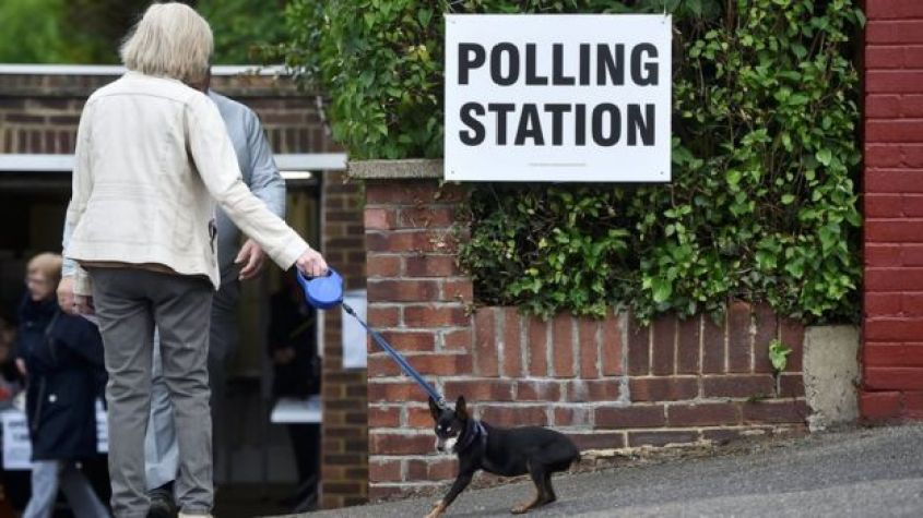 A woman and her dog outside a polling station