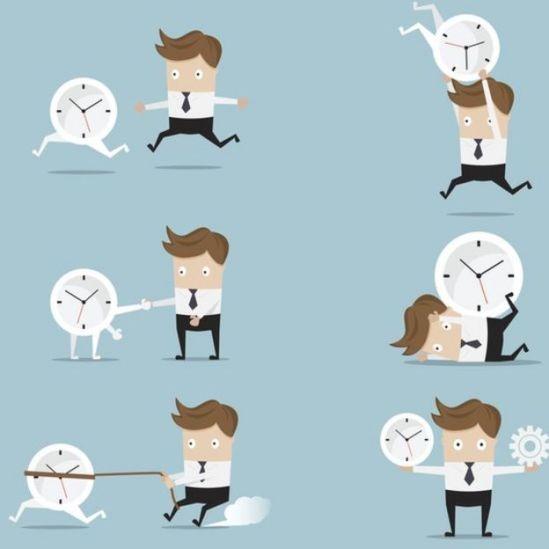 Ilustração mostra homem lidando com o relógio em diversas situações