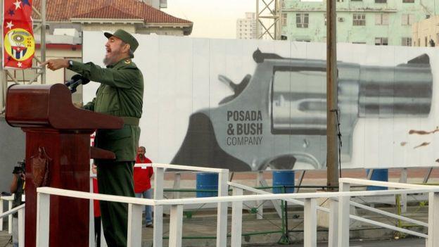 Fidel Castro en una manifestación anti EE.UU. en 2006