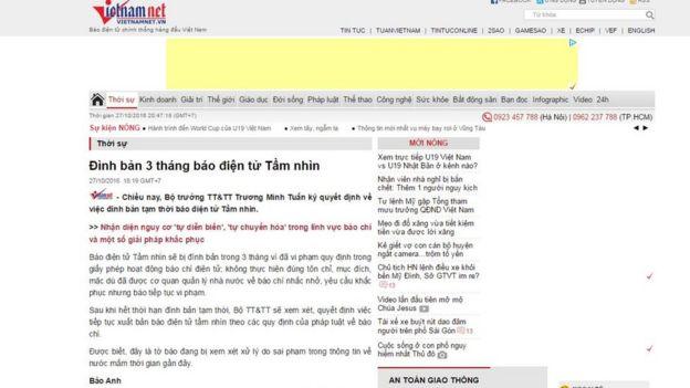 VietnamNet nói báo Tầm nhìn đang bị xem xét xử lý do sai phạm trong thông tin về nước mắm thời gian gần đây.