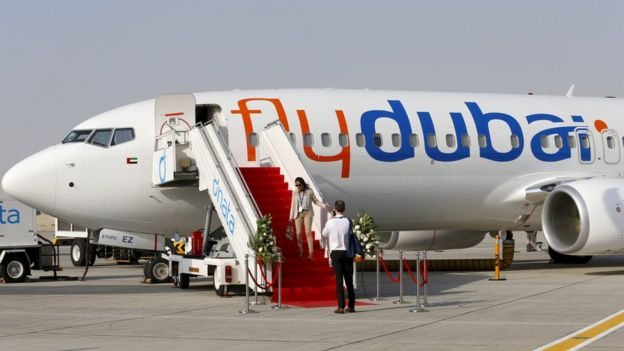 Flydubai plane at the Dubai Airshow