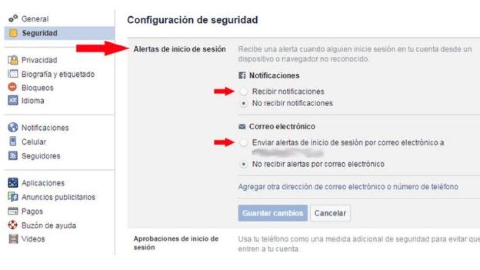 Página de Facebook en la que configuras las alertas de ingreso