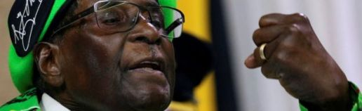 Zimbabwean President Robert Mugabe addresses a meeting of his ruling Zanu-PF party's youth league in Harare, Zimbabwe, on 7 October 2017