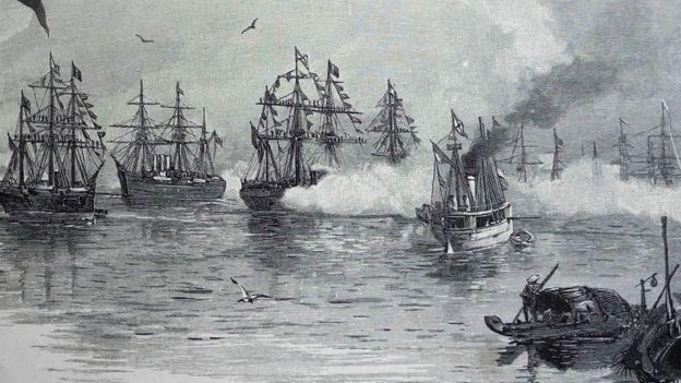 Hình ảnh minh họa trong cuốn sách cảnh đoàn chiến hạm của Hoàng thái tử Nga tới Sài Gòn