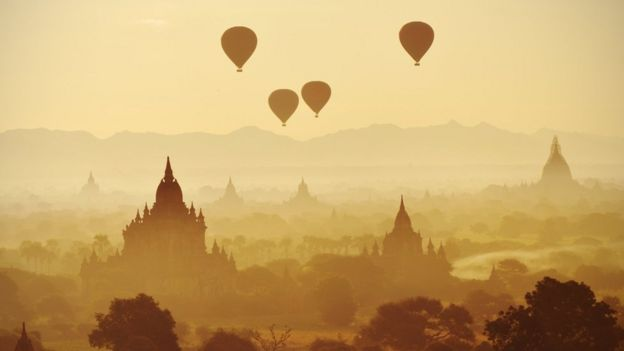 Bagan with hot air balloons