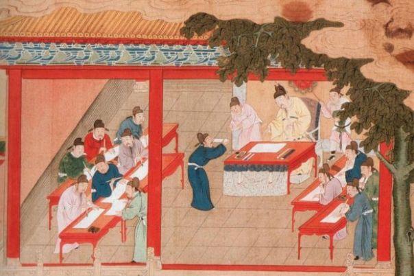 Ilustración del examen en Kaifeng, dinastia Song, China.