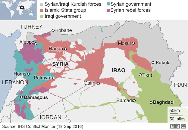 Map showing control of Syria and Iraq