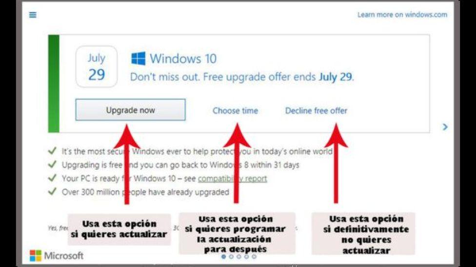 Nueva ventana para actualización de Windows