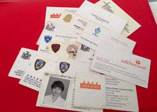 More than a dozen business cards