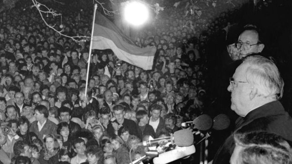 Helmut Kohl addresses crowds in Berlin after the fall of the Berlin Wall
