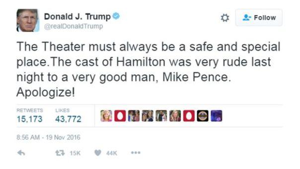 Tuit de Donald Trump exigiendo disculpas del teatro