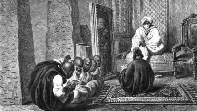 Shehu Umar Kura Ibn Shehu Muhammad Al-Amin Elkanemi tare da wakilan Heinrich a fadarsa a Kukawa
