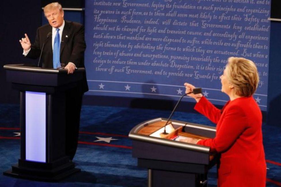 Donald Trump e Hillary Clinton debatem em Nova York em 26 de setembro de 2016.