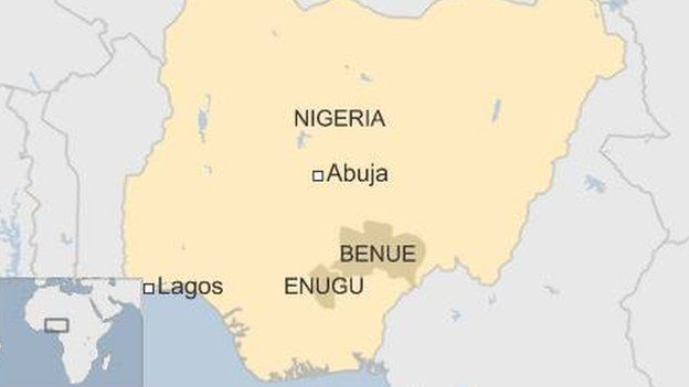 Map showing locations of Benue and Enugu states