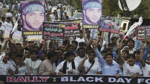 People rally against India to express solidarity with Indian Kashmiris fighting against government forces, in Lahore, Pakistan, Thursday, Oct. 27, 2016