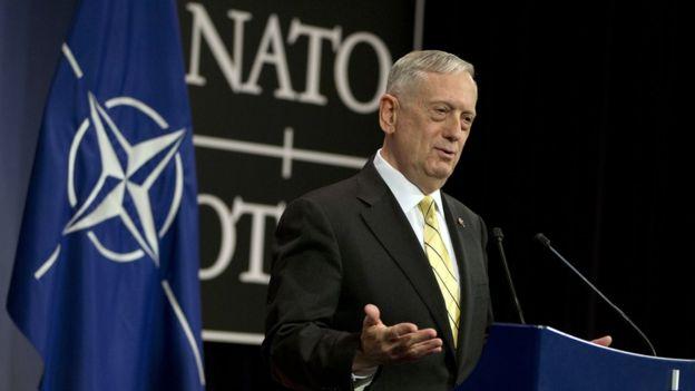 Gen Mattis speaks at Nato meeting in Brussels