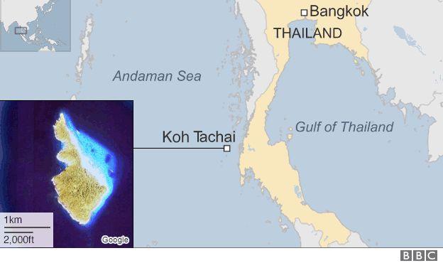 Map of Thai island of Koh Tachai