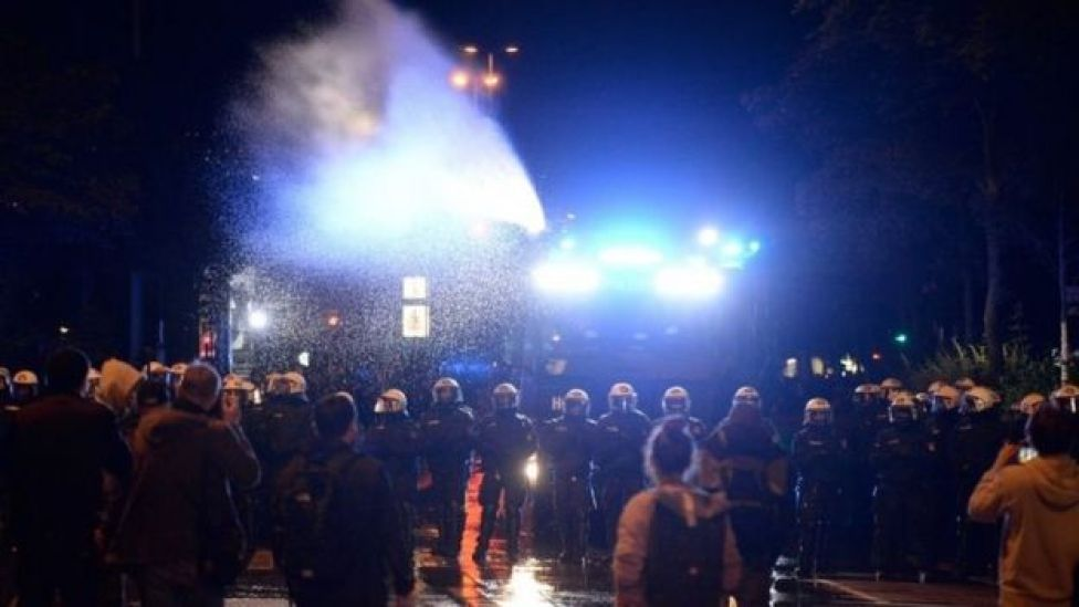 German police use water canon to disperse protesters in Hamburg. Photo: 5 July 2017