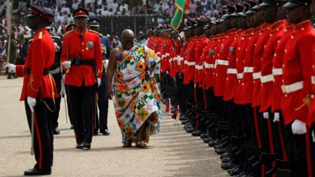Ghana's new president Nana Akufo-Addo at a military parade following his oath of office ceremony at Independence Square, Accra, 7 January 2017