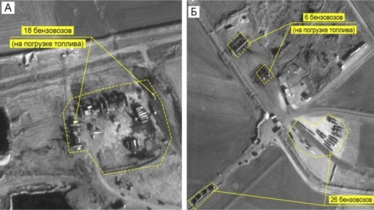 Russian images allegedly showing the illegal oil trade between Turkey and Syria