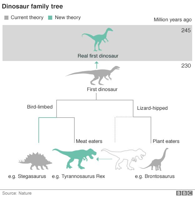 Dinosaur family tree new and old combined