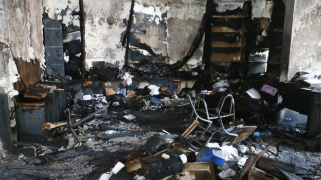 The headquarters of the HDP in Ankara was badly damaged by fire on Tuesday night (9 Sept)