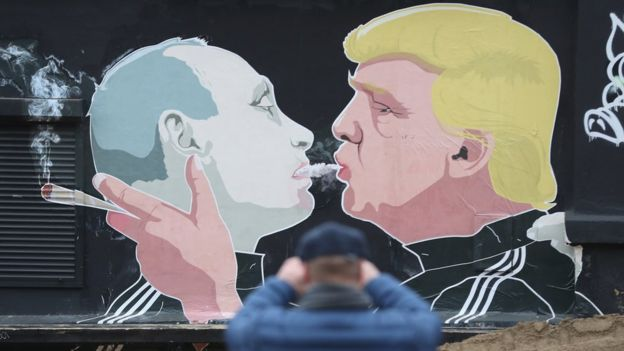 Putin and Trump mural in Lithuania