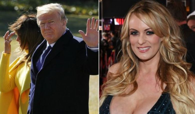Collage photograph of Mr Trump and his wife, Melania and adult film star Stormy Daniels