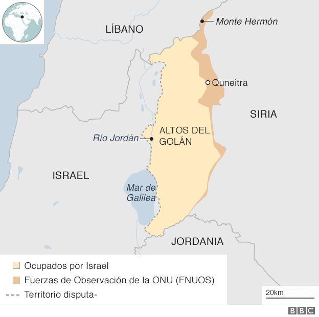Mapa de los Altos del Golán y países vecinos