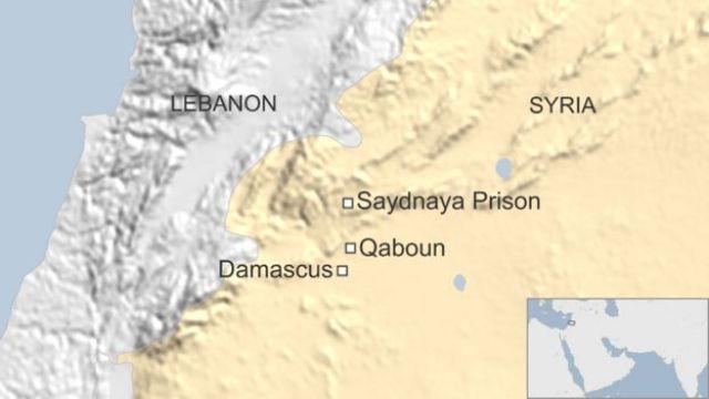 Map of Syria showing location of Saydnaya prison