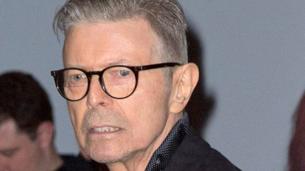 David Bowie arriving at the Theatre Workshop in New York in December 2015 for the premiere of Lazarus