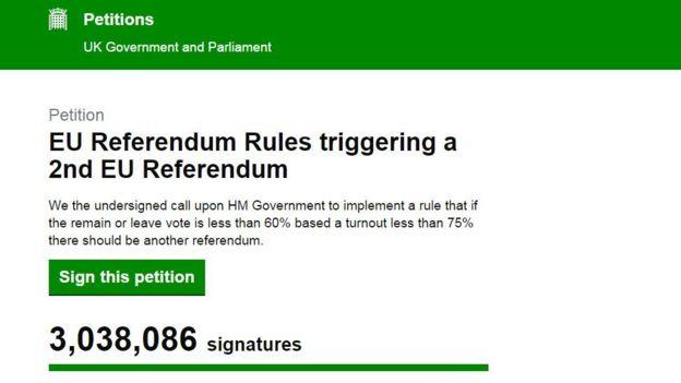 Petición para un segundo referendo sobre la UE