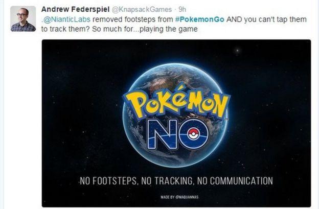 Un tuit sobre la actualización de Pokémon Go