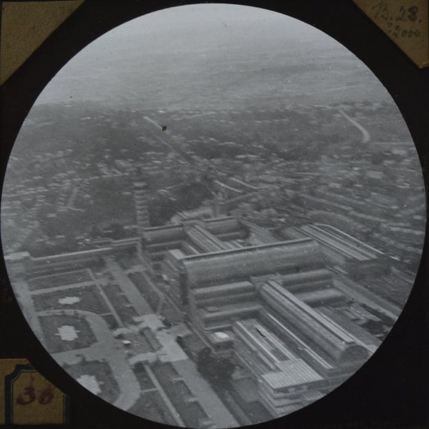 A slide from Cecil V. Shadbolt's collection of earliest known surviving aerial pictures